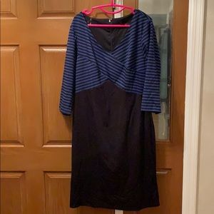 Blue/Black Striped Top with Black Bottom